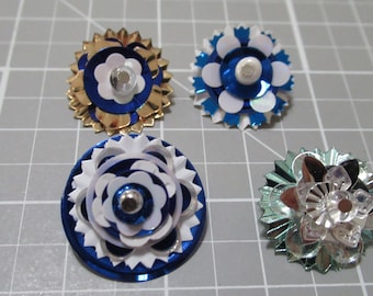 Vintage sequins, blue sequins, sequin buttons, sequin charms, blue charms, gold sequins, vintage ,buttons, blue buttons