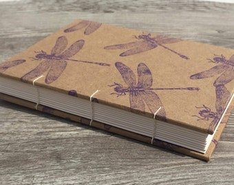 Hand Bound Coptic Stitched Guest Book with Hand Stamped Cover, Wedding, Journal, Notebook, Travel Book