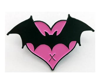 Enamel Pin Pink heart and Bat I Love Bats