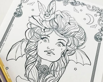 Vampire Girl Bat Girl 1 Download Coloring Page Pocket Full of Posiez