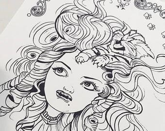 Crazy Cat head Girl Download Coloring Page Pocket Full of Posiez