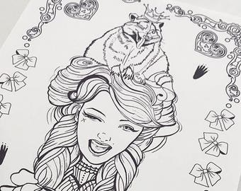 Racoon Girl Download Coloring Page Pocket Full of Posiez
