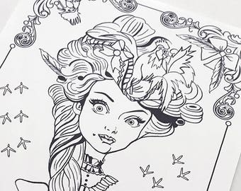 Rooster Girl Download Coloring Page Pocket Full of Posiez