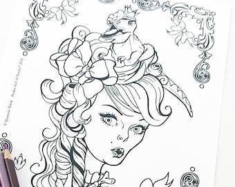 Dino Girl  Digital Download Coloring Page Pocket Full of Posiez