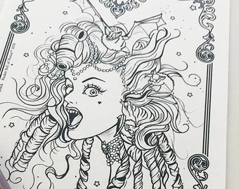 Vampire Girl Bat Girl 6 Download Coloring Page Pocket Full of Posiez