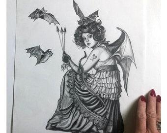 11x14 Gothic Cherub Original Pencil Drawing