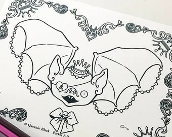 Spooky Bat Digital Download Coloring Page Pocket Full of Posiez
