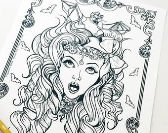 Vampire Girl Bat Girl 3 Download Coloring Page Pocket Full of Posiez