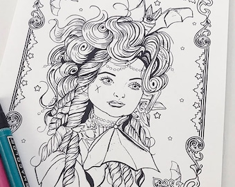Vampire Girl Bat Girl 2 Download Coloring Page Pocket Full of Posiez