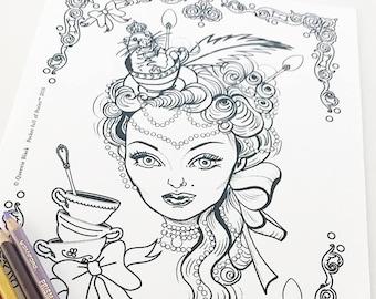 Tea Time Marie Antoinette Digital Download Coloring Page Pocket Full of Posiez