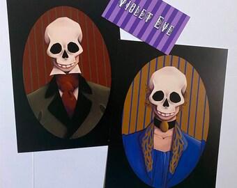 Art by Violet Eve Skeleton Print set