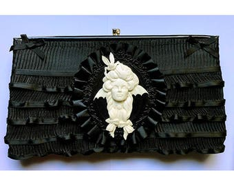 UPscaled UPcycled Clutch bag Vampire Girl Resin Ribbons  OOAK