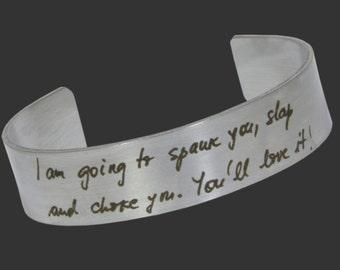 Your Handwriting BDSM Jewelery OR Custom Engraved bdsm bracelet master mistress sir daddy cuckold slave babygirl kitten kitty sub DDLG