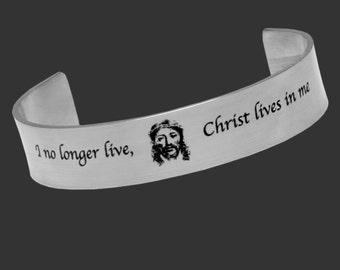 STEEL Bracelet, Galatians 2:20 I no longer live Christ lives in me. Scripture Bracelet. Bible Scripture.Christian Jewelry.Religious Bracelet