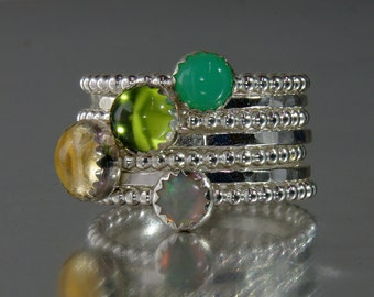 Peridot, Opal, Chrysoprase, Citrine Gemstone Birthstone Rings/ Mothers Rings/ Silver Stacking Rings /Stackable Rings August,May,November