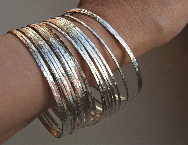 7 Thin Hammered Sterling Silver Stack  Bangles Set Boho image 0