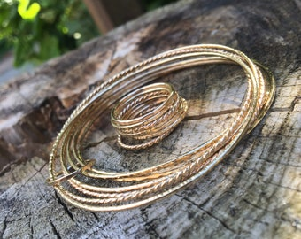 Set of 7 thin 14k gold filled hand hammered mixed textures stackable bangles set, gold stacking bangle bracelets, thin bangles