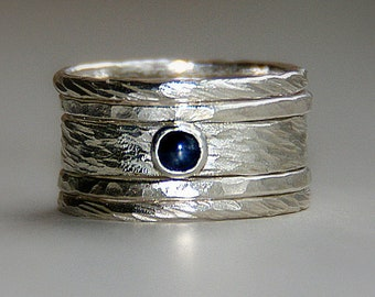 Unique Earthy Wedding Ring: Rustic Sterling Silver