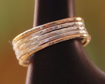 5 - 14k gold filled and sterling silver rings