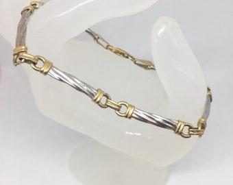 "18k White & Yellow Solid Gold Twisted Bar Link Bracelet 7.25"" 7.4 Grams, Two Tone Women Gold Layering Skinny Bracelet, Real Gold Bracelet"