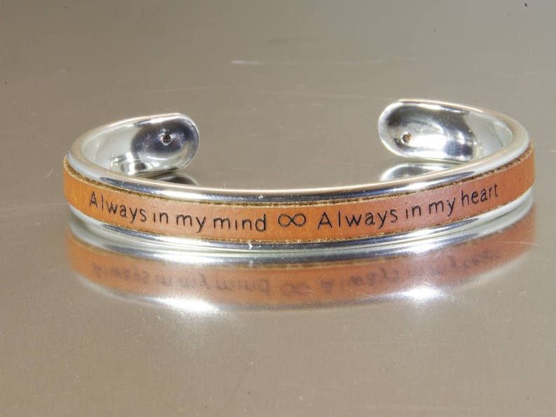 Cuff Bracelet Personalized Long Distance Relationship Couples image 0
