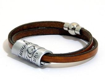 Scottish Gaelic Aluminum Leather Bracelet Cuff, Hand Stamped, Custom Engraved Secret Message Bracelet Cuff, Irish Gaelic,Gaeilge nah Eireann