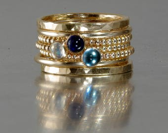 GOLD FILLED London Blue Topaz, Sapphire, Rainbow Moonstone Stacking Birthstones Mothers rings, Stackable Mothers Rings
