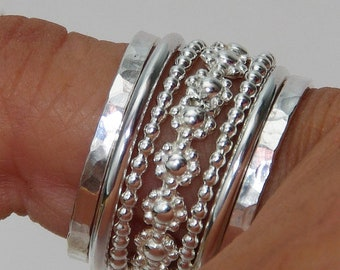 Set of Stacking Rings Sterling Silver  Band of Daisy Flowers Between Dotted and Hammered Bands