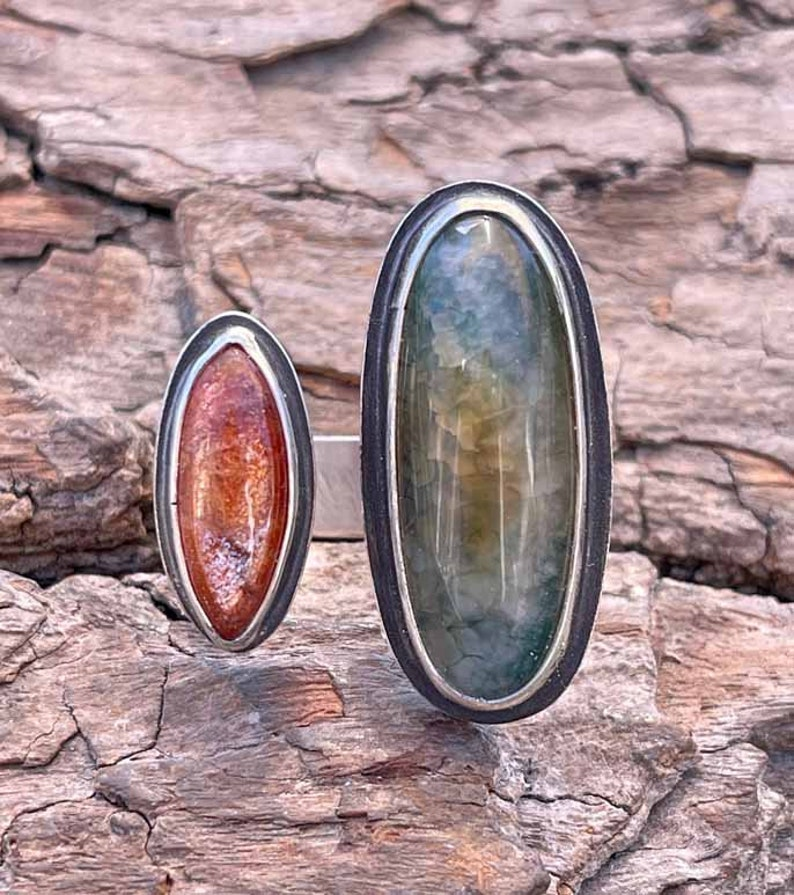Dragon Scale Agate /& Sunstone Ring