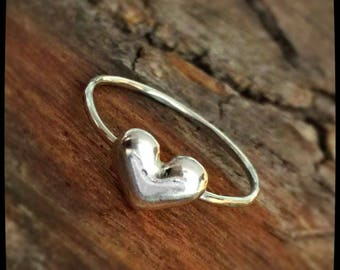Fine Silver and Sterling Silver Puffy Heart Ring