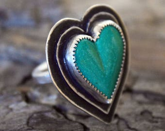 Sterling Silver - Beating Heart Turquoise Ring