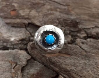 Sterling Silver - Turquoise Nugget Ring Choose Size 5 or 6