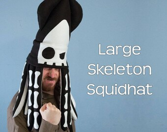Skeleton Bones Squid Hat Plush Fleece Large
