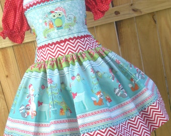 Ready to Ship Custom Boutique Christmas Snowman Owl Aqua Red Girl  Dress Size 4 or 5 or Slim 6