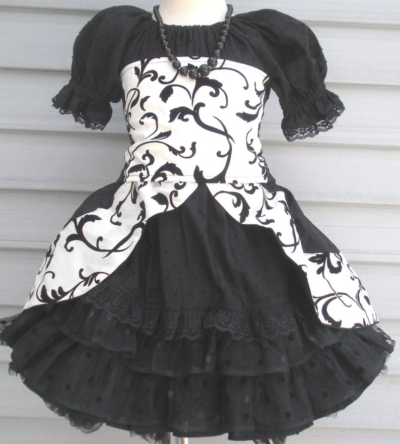 6b683cd608b4b SALE....Last ONE....Ready to Ship Custom Boutique Black White flocked  Taffeta 4 piece outfit Dress Will Size Girl Size 4