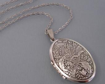 Ox Silver Long Locket Pendant, Leaf Locket Necklace, Oval Locket, Floral Long Necklace, Flower Silver Jewelry.