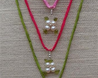 Qty 3 LOTUS BLOSSOM Necklaces -  myBouquet Beaded Floral Design - Grade A Pearl & Etched Peridot Leaves Flower Pendant in Sterling Silver