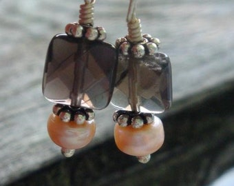M.A.D.D. ABOUT YOU Earrings - PEACH Freshwater Pearls Genuine Smoky Quartz in Sterling Silver - Handmade by Dorana
