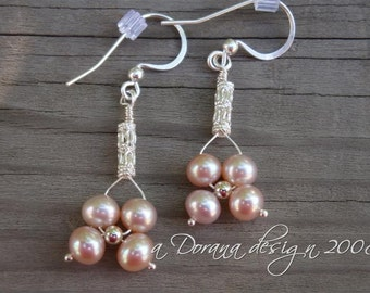 FORGET PARIS COLLECTION - myBouquet Beaded Floral Design - Peach Pearl & Sterling Silver Earrings - Handmade by Dorana
