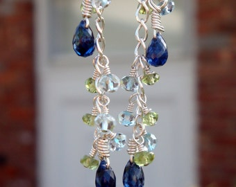 """PERSONALIZED BIRTHSTONE Dangling Drop Earrings """"By Land and By Sea"""" - Peridot, Aquamarine, & Kyanite in Sterling Silver - Handmade by Dorana"""