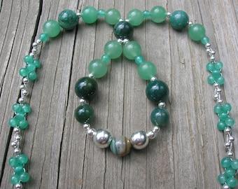 Blame It On the Rain- Green Aventurine, Ocean Jasper & Zarape Azul Sterling Silver Teardrop Necklace - Handmade by DORANA