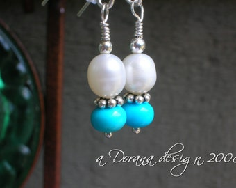 Maresar - Pearl and Sleeping Beauty Turquoise Bali Sterling Silver Earrings - Handmade by DORANA