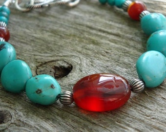 INDIAN SUMMER - TURQUOISE, Red Agate & Carnelian in Bali Sterling Silver  - Handmade by Dorana
