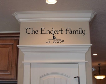 Family Name with Year Established and a Graphic Vinyl Lettering Sticker Design
