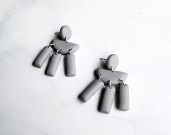 Light Gray Dangle Earrings | Polymer Clay Statement Earrings | Small Minimal Drop Dangles Earring Pair | Ready to Ship || Garnet + Clay