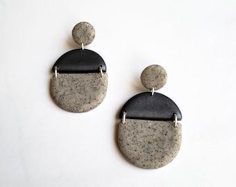 Granite + Gray Dangle Earrings | Polymer Clay Statement Earrings | Minimal Metallic Drop Earring Pair | Ready to Ship || Garnet + Clay