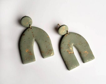 Green + Gold Leaf Arch Earrings | Polymer Clay Statement Dangles | Marbled Rainbow Arches Earring Pair | Ready to Ship || Garnet + Clay