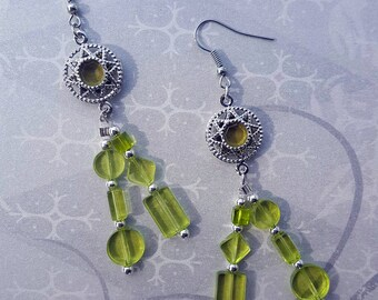 SALE - Silver  and Green Peridot Lime Dangle Earrings - Bella Mia Beads - READY to SHIP