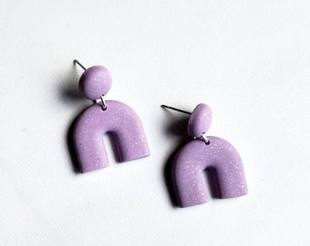 Limited Edition Lavender Shimmer Rainbow Earrings | Polymer Clay Dangles | Small Minimal Arch Earrings | Ready to Ship || Garnet + Clay