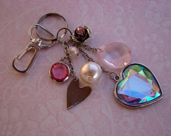 READY TO SHIP - Pink and Iridescent Heart Keychain